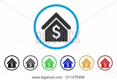 Loan Mortgage rounded icon. Style is a flat gray symbol inside light blue circle with additional colored variants. Loan Mortgage vector designed for web and software interfaces.