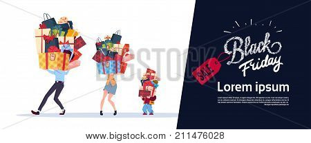 Black Friday Poster With Family Carry Stack Of Presents Over White Background Holiday Seasonal Sale Concept Flat Vector Illustration