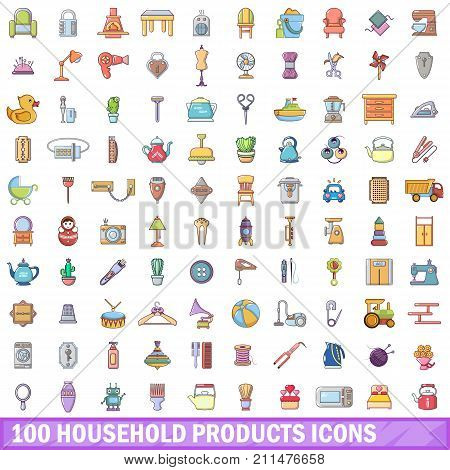 100 household products icons set. Cartoon illustration of 100 household products vector icons isolated on white background
