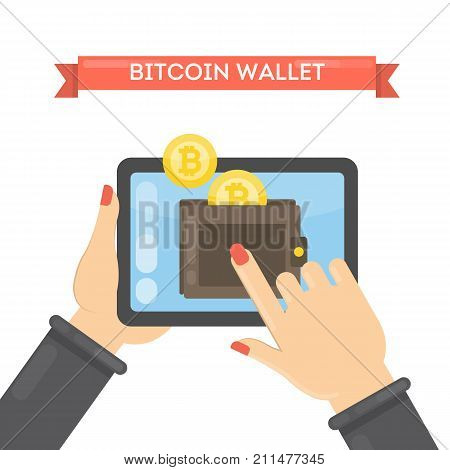 Woman with bitcoin wallet on tablet. Virtual wallet with cryptocurrency.
