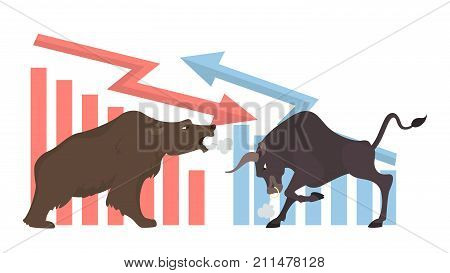 Bull and bear concept illustration. Market exchanging, trading and business.