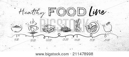 Timeline on healthy food theme illustrated time of meal and food icons drawing with black lines on dirty paper background