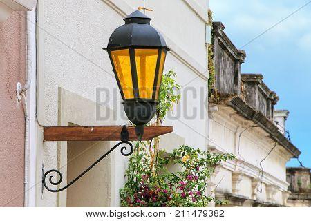 Close-up Of A Street Lamp In Historic Quarter Of Colonia Del Sacramento, Uruguay