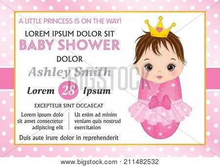 Vector card template with cute baby girl dressed as princess. Card template for baby girl shower on polka dot background. Vector baby girl shower. Vector illustration