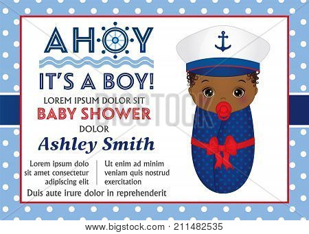 Vector card template with cute baby boy dressed in nautical style. Card template for baby boy shower on polka dot background. Vector baby boy shower. Vector illustration