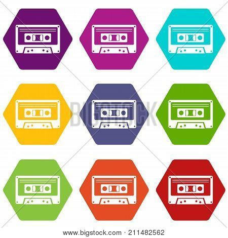Cassette tape icon set many color hexahedron isolated on white vector illustration