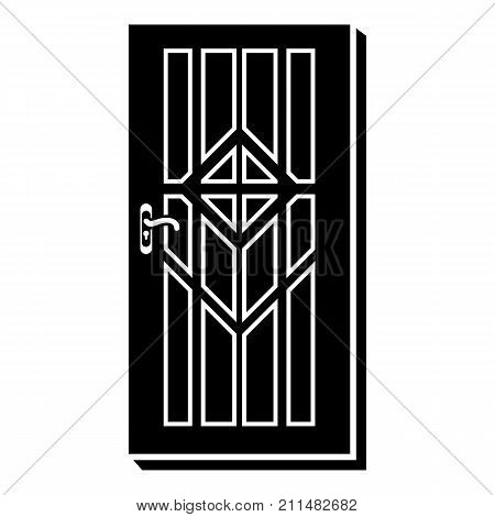 Door with handle icon. Simple illustration of door with handle vector icon for web