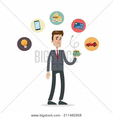 Isolated poor man with empty wallet. Broke businessman. poster