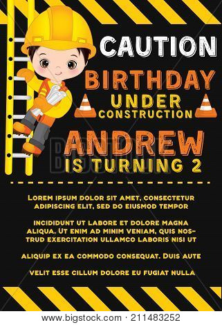 Vector card template with cute baby boy dressed as little builder. Card template for baby boy birthday on striped background. Vector baby boy birthday. Vector illustration