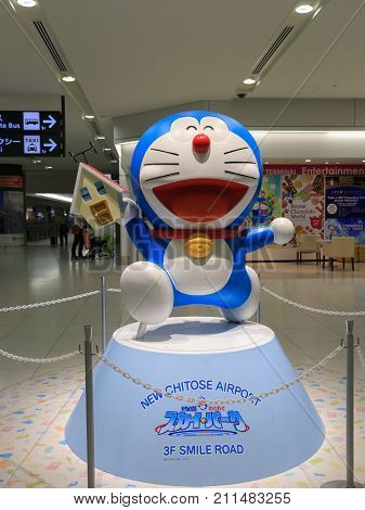 NEW CHITOSE AIRPORT HOKKAIDO Japan October 23 2017: Doraemon mascot model at New Chitose International Airport in Hokkaido for welcome the tourist.