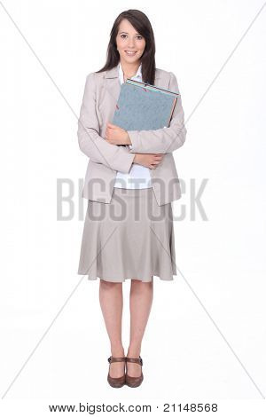 Probationer secretary on white background