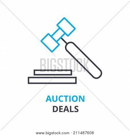 auction deals concept, outline icon, linear sign, thin line pictogram, logo, flat vector, illustration