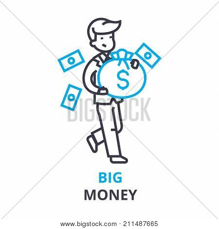 big money concept, outline icon, linear sign, thin line pictogram, logo, flat vector, illustration