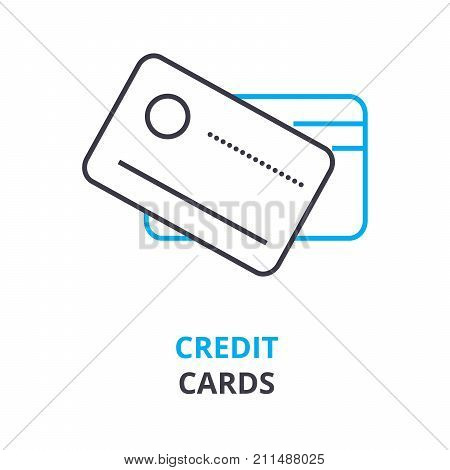 credit cards concept, outline icon, linear sign, thin line pictogram, logo, flat vector, illustration