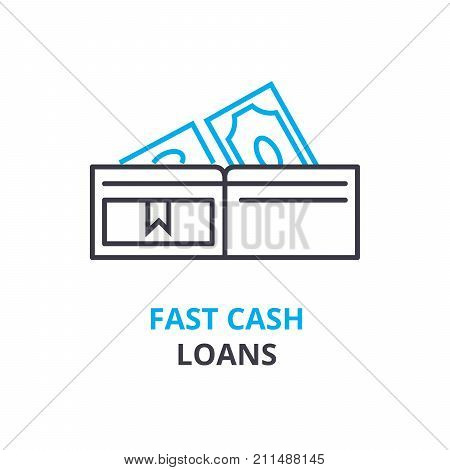 fast cash loans concept, outline icon, linear sign, thin line pictogram, logo, flat vector, illustration