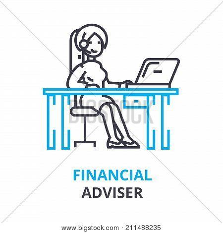 financial adviser concept, outline icon, linear sign, thin line pictogram, logo, flat vector, illustration