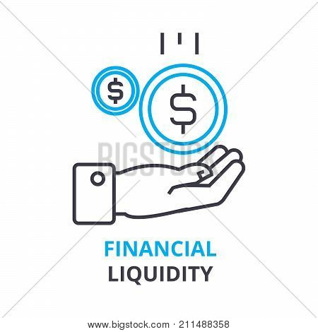 financial liquidity concept, outline icon, linear sign, thin line pictogram, logo, flat vector, illustration