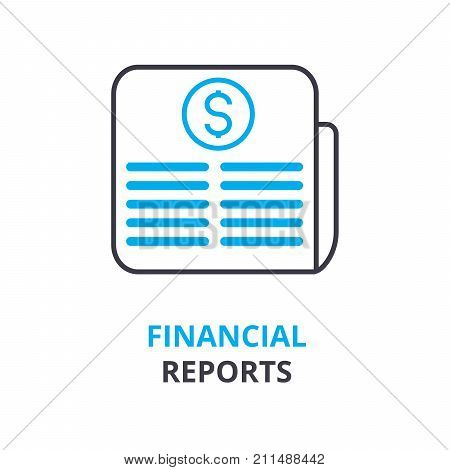 financial reports concept, outline icon, linear sign, thin line pictogram, logo, flat vector, illustration