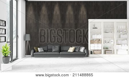 Modern Interior In Vogue With Black Leather Couch And Copyspace In Horizontal Arrangement. 3D Render