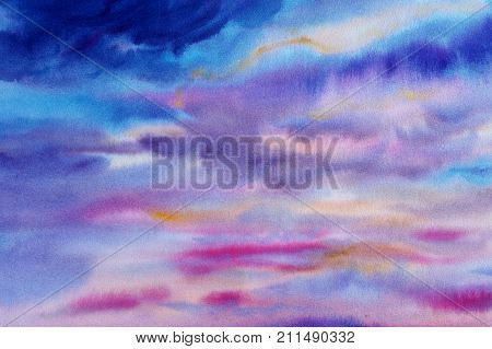 Paintings watercolors sky blue pink color of rainy cloud in air and season nature abstract background. Hand Painted Impressionist.