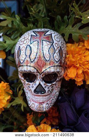 Flower And Skeleton Alter At Dia De Los Muertos