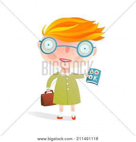 Cute schooler reading book holding a bag. Vector cartoon.