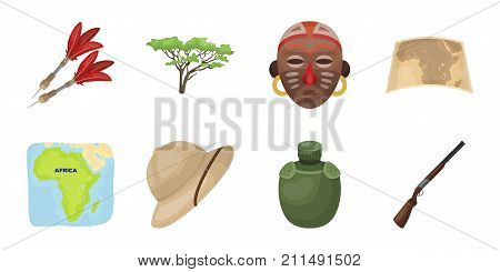 African Safari icons in set collection for design. Trophies and equipment for Safari vector symbol stock  illustration.