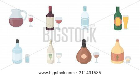 Types of alcohol icons in set collection for design. Alcohol in bottles vector symbol stock  illustration.