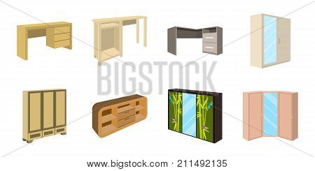 Bedroom furniture icons in set collection for design. Modern wooden furniture isometric vector symbol stock  illustration.