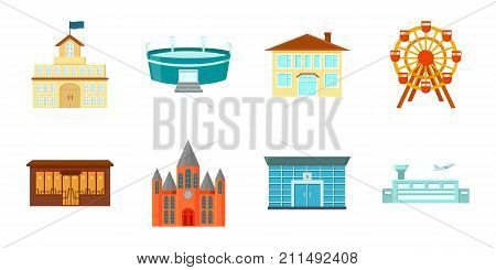 Building and architecture icons in set collection for design. Construction and Institution vector symbol stock  illustration.