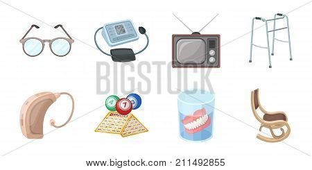 Human old age icons in set collection for design. Pensioner, period of life vector symbol stock  illustration.