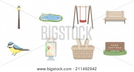 Park, equipment icons in set collection for design. Walking and rest vector symbol stock  illustration.