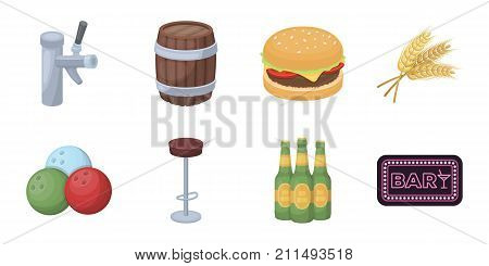Pub, interior and equipment icons in set collection for design. Alcohol and food vector symbol stock  illustration.
