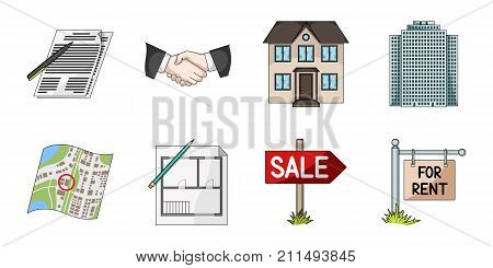 Realtor, agency icons in set collection for design. Buying and selling real estate vector symbol stock  illustration.