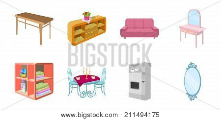 Furniture and interior icons in set collection for design. Home furnishings vector isometric symbol stock  illustration.