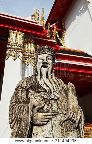 Wat Pho Chinese stone guardian, Bangkok, Thailand