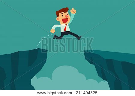 Businessman jump over cliff gap overcome the difficulty. Business concept