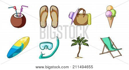 Summer rest icons in set collection for design. Beach accessory vector symbol stock  illustration.