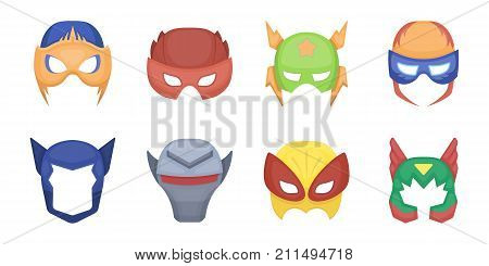 Carnival mask icons in set collection for design.Mask on the eyes and face vector symbol stock  illustration.