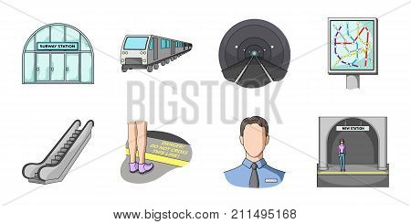 Metro, subway icons in set collection for design.Urban transport vector symbol stock  illustration.