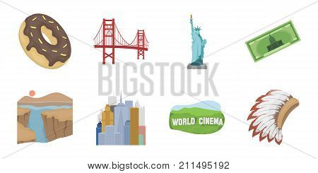 USA country icons in set collection for design.Travel and attractions vector symbol stock  illustration.