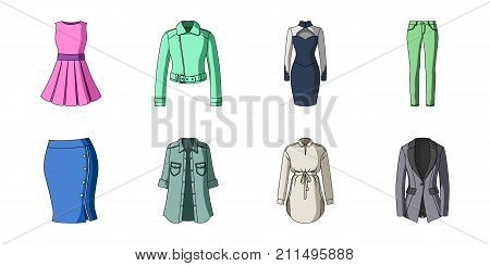 Women's Clothing icons in set collection for design.Clothing Varieties and Accessories vector symbol stock  illustration.