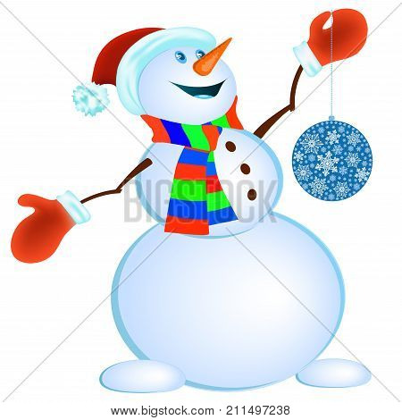 Snowman in red mittens and striped scarf on white background - vector