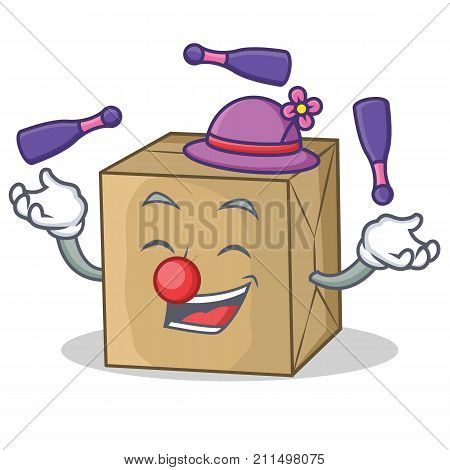 Juggling cardboard character character collection vector illustration poster