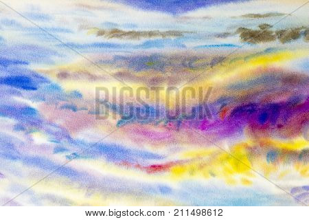 Watercolor painting cloud sky colorful of climate beauty soft in the air and season nature abstract background. Hand Painted Impressionist.