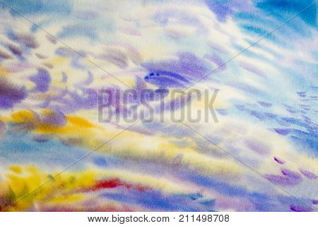 Watercolor paintings cloud sky colorful of climate beauty soft in the air and season nature abstract background. Hand Painted Impressionist.