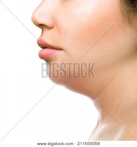Fat woman with the double chin isolated on white background