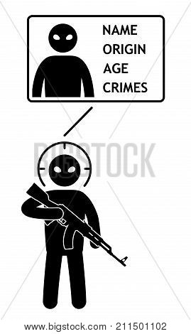 Biometrical identification of criminal bandit terrorist element. Security facial recognition system concept. Face recognition. Vector illustration