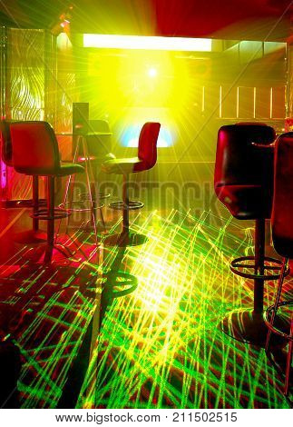 laser and light in a nightclub for party