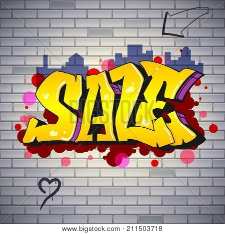 Sale, lettering in Hip-hop, graffiti style. Street art on the brick wall. Urban ad poster. Advertising about discounts. Stylish design of banner with your offer. 3D illustration.